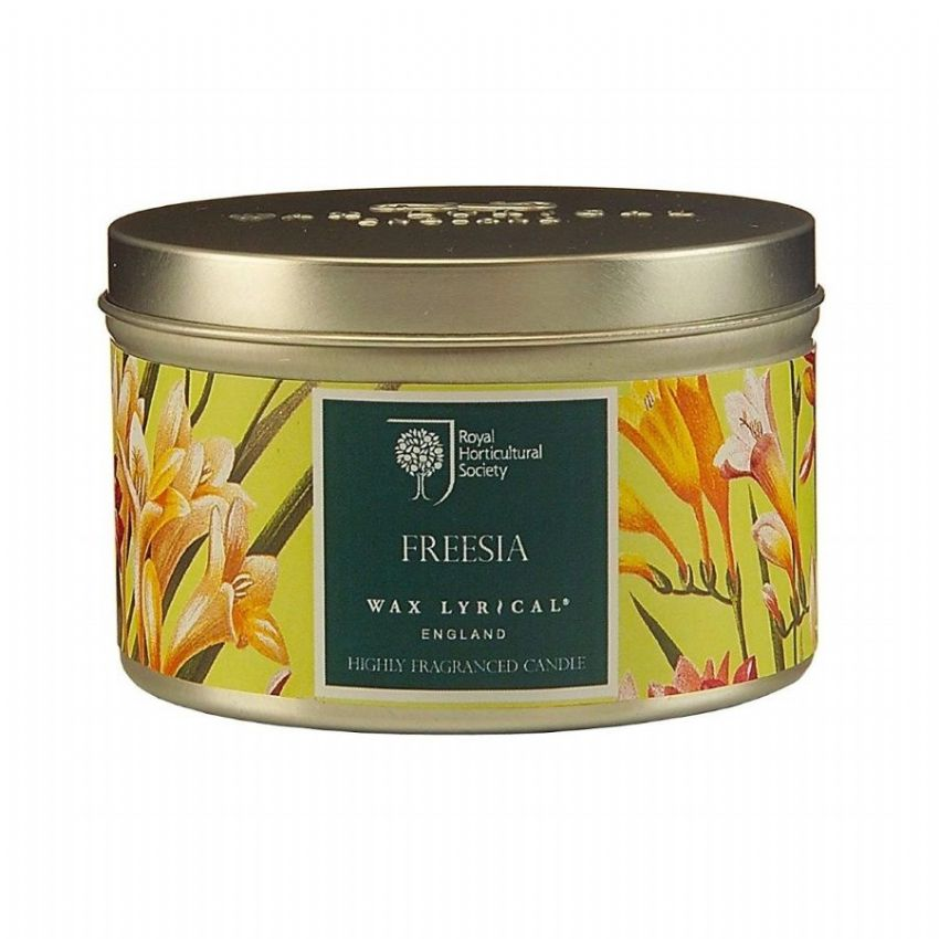 Freesia Scented Tin Candles RHS Fragrant Garden Wax Lyrical 20 Hours